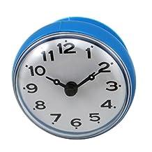 SODIAL(R) 7cm Waterproof Kitchen Bathroom Shower Water Clock Suction Cup Sucker Wall Clock Blue