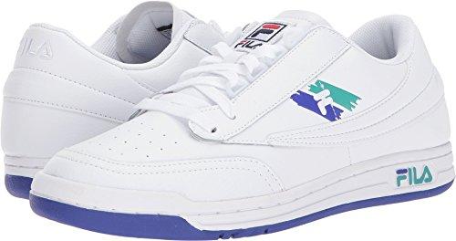 Fila Herren Original Tennis Logo Leder Sneakers Weiß, Königsblau, Lagune