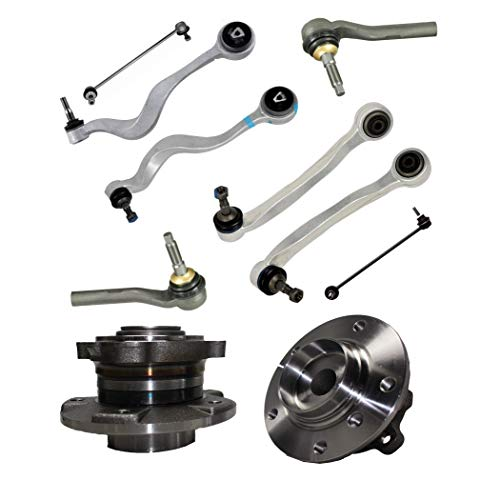 Detroit Axle - 12PC Front Wheel Hub and Bearing, Lower Control Arms w/Sway Bars and Outer Tie Rods for 04-07 BMW 525i - [08-09 528i] - 04-05 545i - [06-10 550i] - 04-05 530i ()