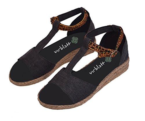 virblatt Hemp Womens Sandals with Wedge Heel and Handmade Ethnic Pattern - Sinnlich b 43