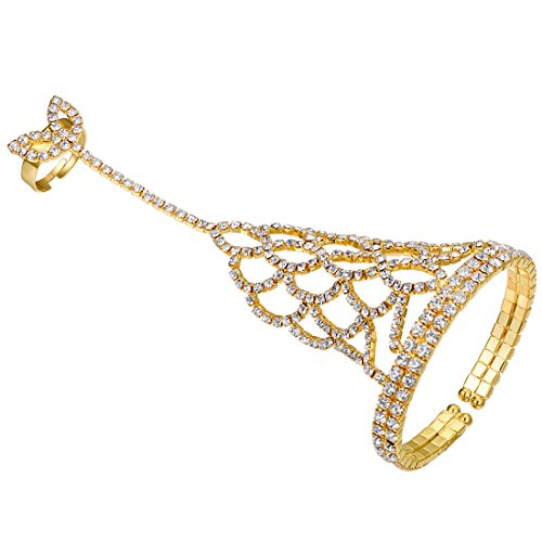FHMZ Women's Hand Chain Bracelet with Ring Crystal Rhinestone Flower