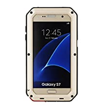 Samsung Galaxy S7 Aluminum Metal Case,[Military Heavy Duty]Extreme Water Resistant ShockProof /Dust/Dirt/Snow Proof Durable Glass Protection Cover Case Defender Coque Housse Étui (Gold)