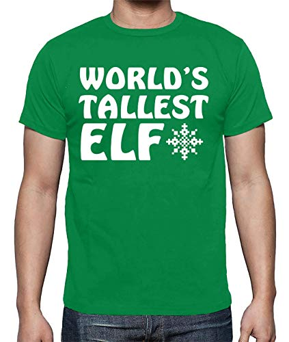 d7fda081265 World s Tallest Elf Funny Sarcastic Humor Xmas Gift Holiday Fun Tee Men s  Shirt (Kelly Green