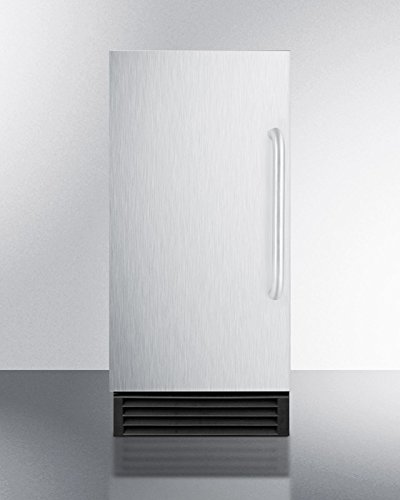 BIM44GADA 15'' Built-In Commercial Energy Star Ice Maker with Automatic Defrost Integrated Door Frame Reversible Door Insulated Storage Bin and Clear Cube Ice in Stainless Steel Summit