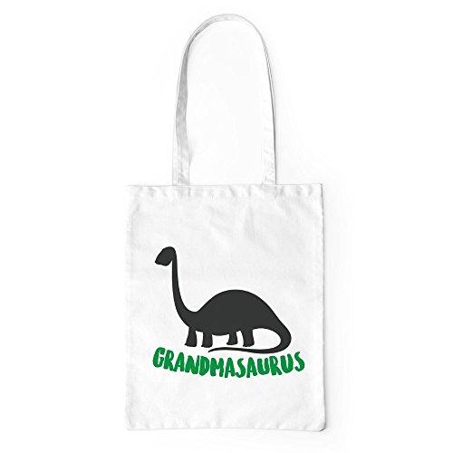 Grandmasaurus Tote Bag Funny Cute Dinosaur Grandma Gift Shopping Canvas Bag White
