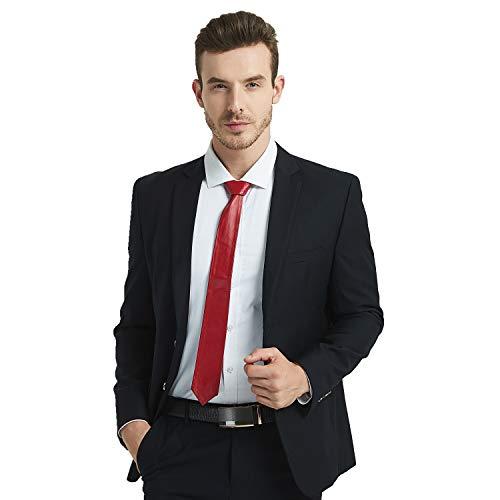- Men's Lamb Leather Tie Solid Black Skinny Necktie (RED)