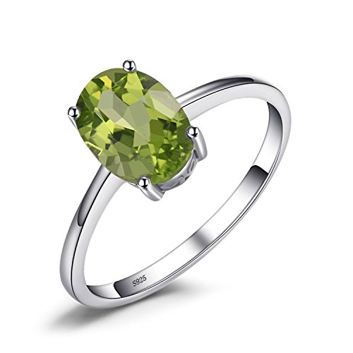 JewelryPalace 1.4ct Natural Gemstones Birthstone Green Peridot Solitaire Engagement Ring For Women For Girls 925 Sterling Silver Oval Cut Size 8 ()