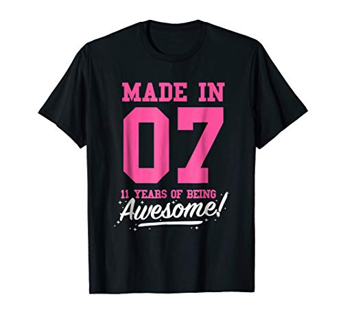 Made In 2007 Awesome 11th Birthday Girl Shirt Pink T-shirt