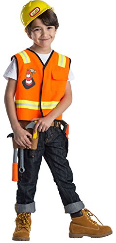 Kids Construction Worker Role Play Set Costume By Dress Up America - Ages 3-6