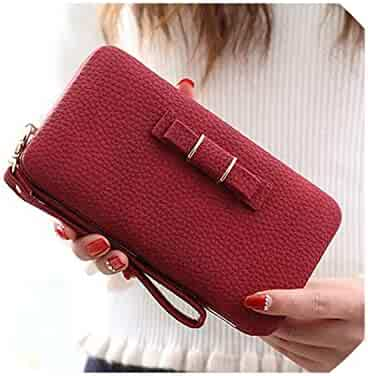 ac97ebe45 Purse bow women's wallet female famous card holders cellphone pocket PU leather  women money bag clutch