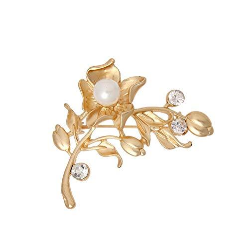 Kaige Elegante Broche de Temperamento Olydmsky Broches para Ropa Mujer Broche Floral de Diamantes de imitación de Alta...