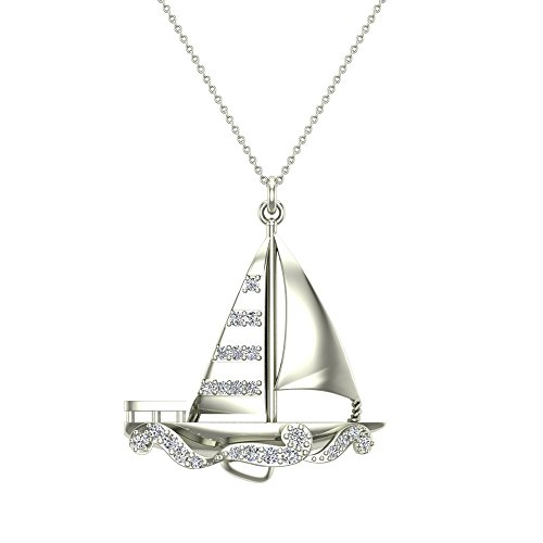 Glitz Design 14K White Gold Necklace Nautical Diamond Necklace Sailboat Charm 0.34 Carat Total Weight 18