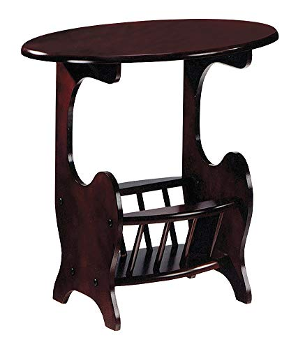 The Furniture Cove Cherry Finish Oval Accent Side Table a Magazine Holder a Free Drink Coaster Included