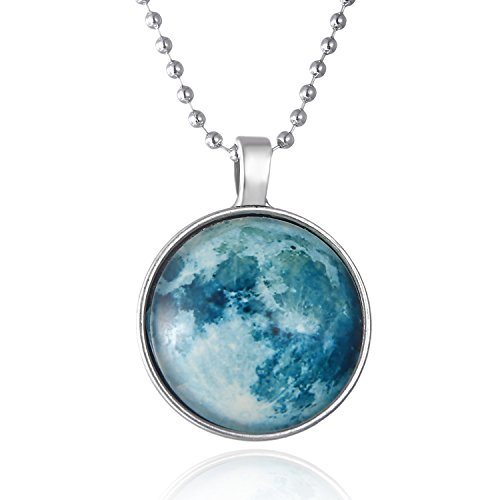 iDMSON Glow In The Dark Necklace - Magical Fairy Moon Charms Pendant Necklace Bead Chain White Gold Plated Jewelry (Style 8) -