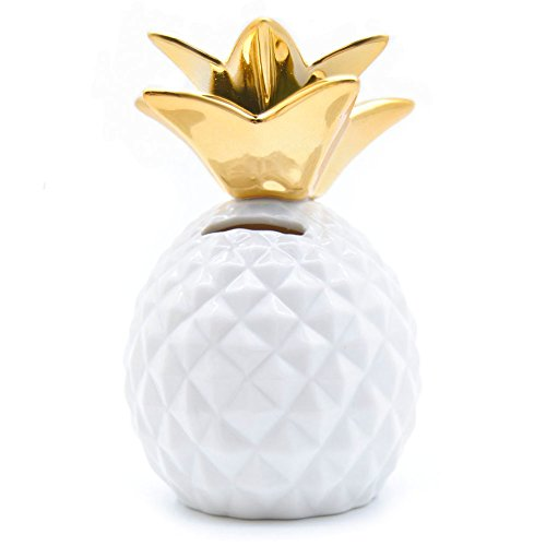 Pineapple Coin Piggy Bank Decorative Ceramic Pineapples Shaped Save Money Cans Cute Money Boxes for Pineapple Theme Party Decor Girls Kid's Children Adults Birthday Gifts (White) ()