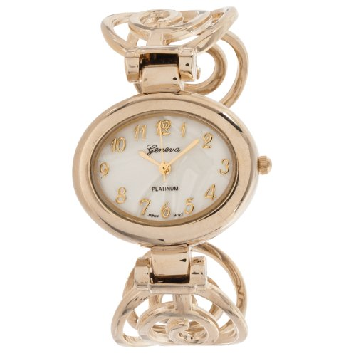 Bangle Platinum Geneva (Geneva Platinum Womens Polished Swirl Cuff Bangle Watch, Gold)