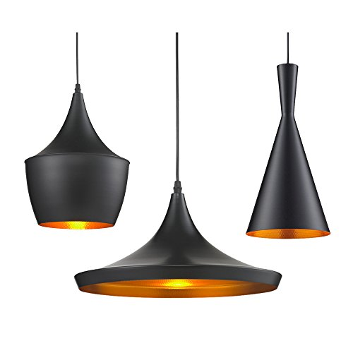 GALYGG Retro Black Pendant Lamps,E26 Socket,Copper Shade Chandelier Lights,Hanging Lamp Fixture Match the Edison Light Bulb,for Indoor Lighting Use,A+B+C Style(Wide,Fat and Tall)