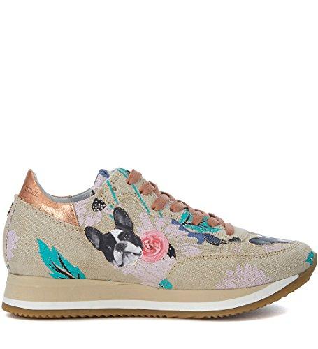 Philippe Model Sneakers Etoile in Textil Beige mit Blumen- und Hunde-Motiven Beige