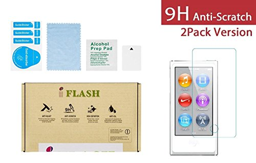 iPod Nano 8/7 Glass Screen Protector, iFlash [2 Pack] Crystal Clear Tempered Glass Screen Protector for Apple iPod Nano 7th / 8th Generation - Scratch Proof/Bubble Free/Crystal Clear ()