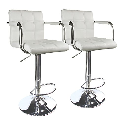 2 Seat Arm Chair (Leopard PU Leather Swivel Modern Square Back Adjustable Bar Stools with arm,Set of 2,White)