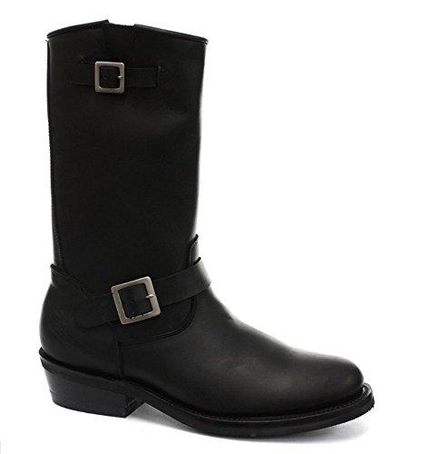 Grinders Rebel unisex in pelle nero liscia Sole Moto Western High stivali