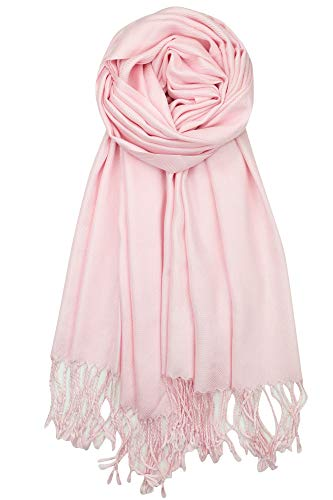 Achillea Large Soft Silky Pashmina Shawl Wrap Scarf in Solid Colors (Light Pink)