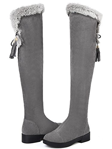 The Knee Thigh By Women High Grey BIGTREE Warm Suede Faux Boots Fur Over Winter Boots zBAaRvxq