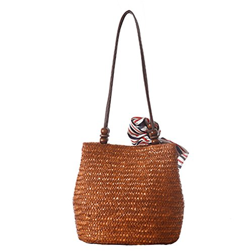 Shopping for Summer Travel Beige Women's Handmade Brown Tote Shoulder Butterme Beach Handbag Bag Bag Straw and 6qPKKBv