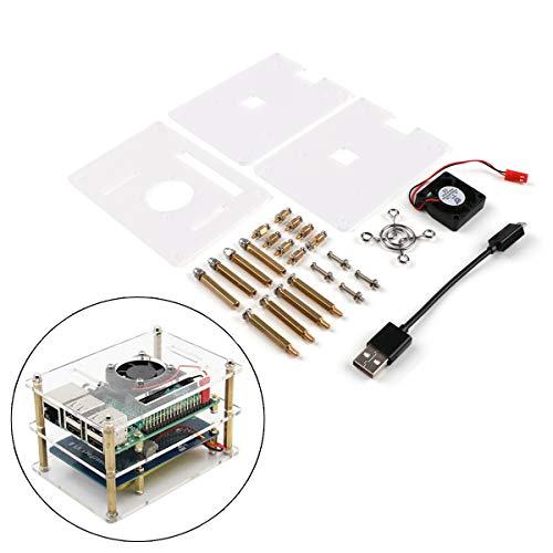 Jun/_Electronic f/ür Raspberry Pi 3 B Geh/äuse 4 Schichten Grau Acryl f/ür Raspberry Pi Geh/äuse mit L/üfter und K/ühlk/örper