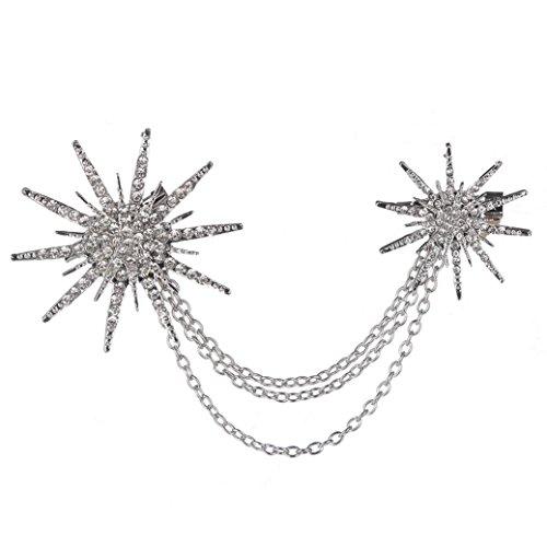 Navy Pink Red Royal Stone - Botrong Fashion Crystal Artificial Diamond Spark Rhinestone Retro Brooch (Silver)