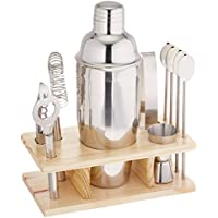 nTERTAIN 10 Piece Stainless Steel Bar Cocktail Set with Wooden Stand