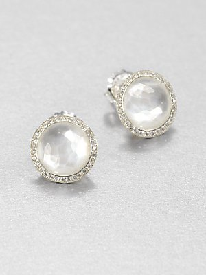 - IPPOLITA Mother-of-Pearl Doublet & Diamond Stud Earrings - Silver