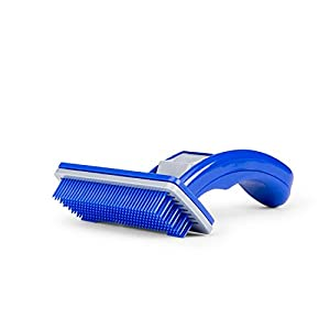 The DDS Store Slicker Grooming Brush for Dogs and Cats, Spring-Loaded Self-Cleaning Feature, Remove Shedding Hair, Tangles and Matting, Flexible Coated Bristle Tips, Ergonomic Handle for Easy Br (S)