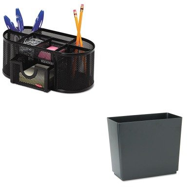 KITRCP25051ROL1746466 - Value Kit - Rubbermaid Designer 2 Wastebasket (RCP25051) and Rolodex Mesh Pencil Cup Organizer (ROL1746466)