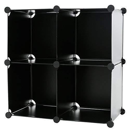 C&AHOME DIY 4 Cube Bookcase Shelf Storage Organizer Mini Closet Cabinet, Black