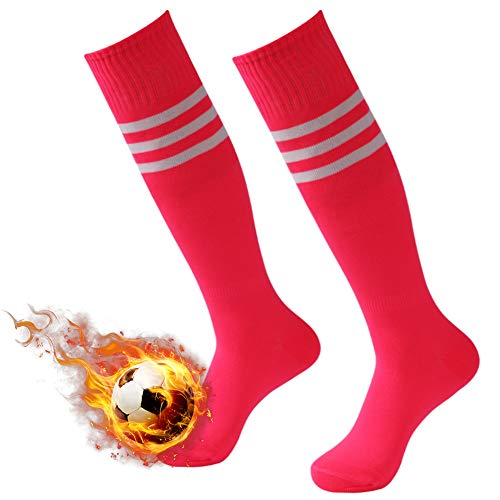 (Athletic Soccer Socks, 3street Wicking Moisture Long Compression Socks Running Extreme Cushion & Comfy For Men And Women Fit Basketball,Rugby,Baseball Hot Pink 2 Pairs)