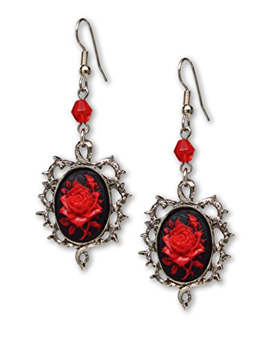 (Gothic Red Rose Cameo Earrings Surrounded by Thorns with Red Bead)