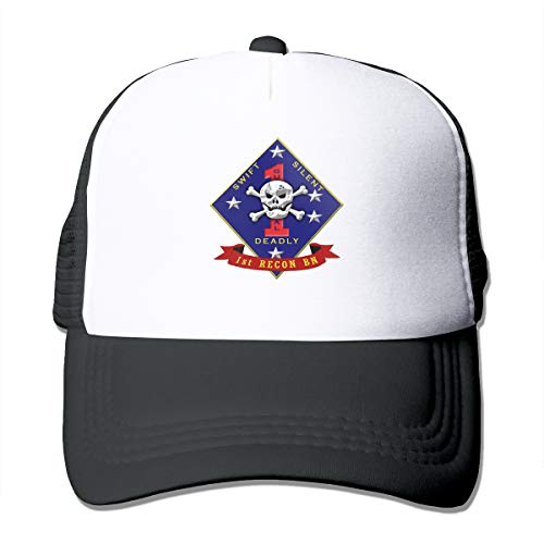 US Marine Corps 1st Recon Battalion Cap Adjustable Baseball Cap Trucker Hat Mesh Cap -