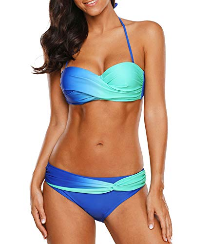 Women's Two Piece Bikini Sets Swimsuits Triangle Tie Side Tankini Swimwear Bathing Suit Top with Bottom (US(8-10) Tag M, A - A Light Blue) ()