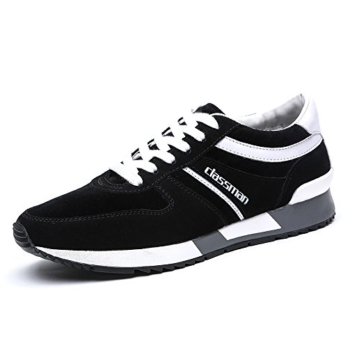 Do.BOMRVII Mens Casual Suede Outdoor Hiking Jogging Running Shoes Runner Sneakers Black