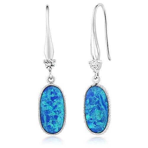 Created Opal Dangle Earrings - 3.00 Ct Blue Created Opal 925 Sterling Silver 15X10MM Ladies Dangle Earrings