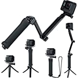 FitStill Waterproof 3 Way Tripod for GoPro Hero 7/6/5/4/3/2/1 Session and Other Action Cameras, Detachable Extendable Floating Pole with Hand Grip Stand