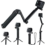 FitStill 3 Way Tripod for GoPro Hero 8/7/6/5/4/3/2/1 Session and Other Action Cameras, Detachable Extendable Selfie Stick Pole with Hand Grip Stand