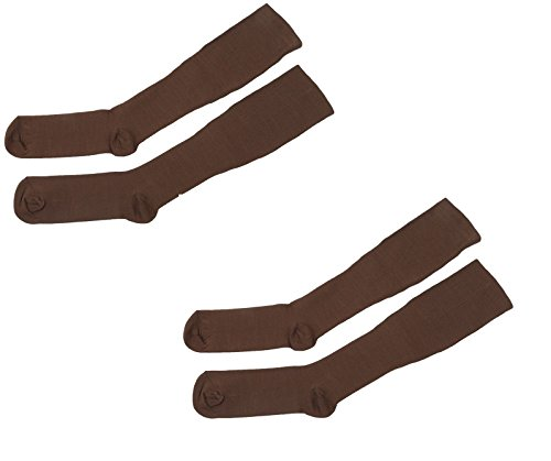 ASRocky (2 Pair, Lg/XL, Brown) Graduated Compression Socks Anti-Fatigue Antimicrobial Calf High Below Knee Mens Womens Sock Leg Foot Ankle Heel Support Pain Relief Stockings Reduce Swelling