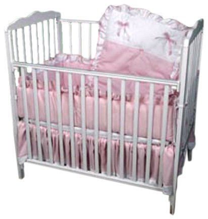 Pique Crib Bedding Set (Baby Doll Bedding Pretty Pique Mini Crib/ Port-a-Crib Set, Pink)