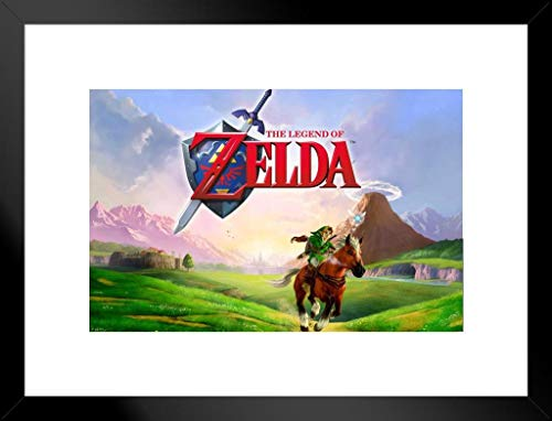 Pyramid America The Legend of Zelda Link Galloping Epona Ocarina of Time Nintendo Video Game Series Matted Framed Poster 20×26 inch