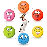 HOLYSTEED Latex Dog Squeaky Toys Rubber Soft Dog Toys Chewing Squeaky Toy Fetch Play Balls Toy for Puppy Small Medium Pets Dog 6pcs