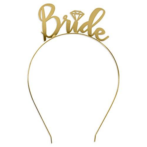 - Bride Tiara Headband Gold Wedding - Bridal Shower, Bachelorette Party Tiara Headband HdBd(Bride) GLD