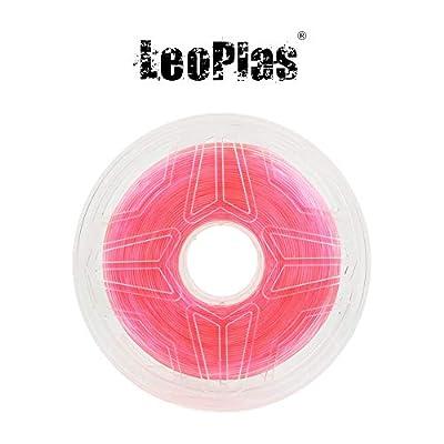 LeoPlas New Store USA Warehouse 1.75mm Transparent Translucent Pink PLA Filament 8 Colors 1Kg 2.2 Pounds FDM 3D Printer Pen Supplies Plastic Printing Material Polylactic Acid