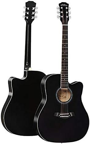 "QYZS ギター Dタイプ単板スプルースギター、初心者のエントリ練習アダルトシングルボード楽器、41"" フルサイズのフルトーンポータブルトラベルギター、スターターパック (Color : Black)"